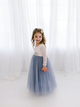 White Lace Flower Girl Dress, Dusty Blue Long Sleeve Wedding Dress, Boho Girls Dress #DM010