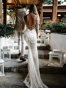Unique Luxury Lace Wedding Dress Long Sleeves Open Back Mermaid Bridal Gowns DM019