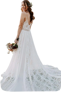 Bohemian Spaghetti Straps Beach Wedding Dress Lace Cheap Wedding Dress DM028