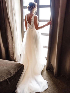 A-line Beach Wedding Dress Boho Bride Dress Plus Size Appliques With Tulle Wedding Gowns DM032