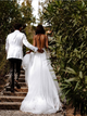 V Neck A Line Backless Wedding Dress Appliques With Tulle Wedding Gowns DM034