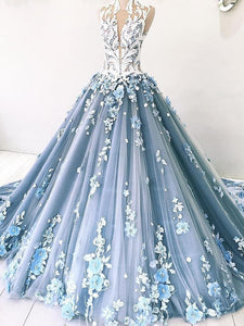 Vintage Ball Gown Prom Dress Tulle High Neck Customed Prom Dress DM040