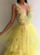 Yellow Tulle Prom Dress V Neck 3D Flower Vintage Evening Dress DM047
