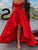 Red Satin Asymmetrical Formal Party Dress Cheap Evening Gowns For Women DM050