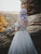 Chic Tulle Silver Prom Dress Modest V Neck Long Prom Dress With Sleeve #DM055