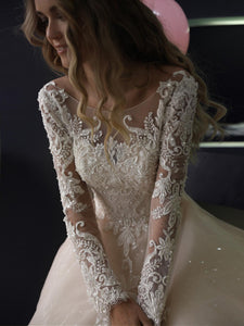 A Line Long Sleeve Wedding Dresses Lace Backless Wedding Dresses DM066