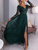 Tulle Long Sleeve Prom Dress Green A Line Cheap Evening Dress DM071