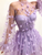 Lace Long Sleeve Prom Dress African A Line  Lilac  Evening Dress DM076