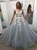 Silver A Line Prom Dress Tulle V Neck Custom African Evening Dress DM087