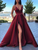Burgundy Satin A Line Prom Dress Custom Simple Sleeveless Evening Dress DM088