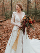 Long Sleeve V neck Lace Tulle Boho Wedding Gowns Rustic Bridal Dress DM092