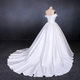 Simple Off The Shoulder Ivory Satin Wedding Dresses Lace Up Wedding Gowns DM093