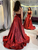 Chic A-line Spaghetti Straps Burgundy Cheap Long Prom Dresses Evening Dress DM094