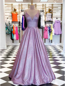 A-Line Spaghetti Straps Long Prom Dress Glitter Lilac Evening Dress DM109
