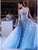 Sparkly Crew Long Evening Party Dress Blue Prom Dress with Appliques Beading DM110