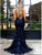 Mermaid Sexy Backless Dark Navy Lace Prom dress with Sequin DM111