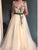 A-Line V-Neck Sweep Train Beige Prom Dress with Appliques Sash Formal Dress  DM113