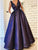 A-Line V-Neck Floor-Length Purple Prom Dress with Pockets Beading DM114