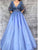 A-Line V-Neck Half Sleeves Lavender Prom Dress with Appliques DM115