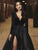 Chic Black Long Sleeve A Line Prom Dress Satin V Neck Evening Dress DM116