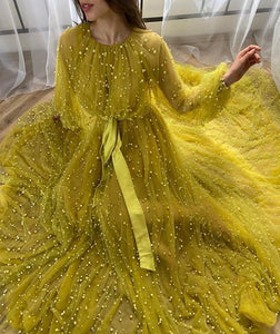 Long Sleeve Tulle A Line Prom Dress Gorgeous Evening Dress With Beads