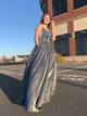 Chic Sequins Silver Prom Dress Simple Custom Evening Dress