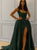 Chic Green Satin A Line Prom Dress Custom Evening Dress DM124
