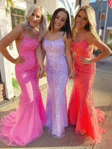 Mermaid/Sheath Lace Sleeveless Prom Dress Sexy Custom Evening Dress DM126