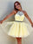 Yellow Lace Short Prom Drsess Tulle Sleeveless Homecoming Dresses DM130