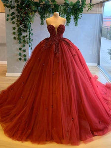 Ball Gown Sweetheart Plus Size Prom Dress Vintage Custom Evening Dress DM134