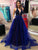 A Line Halter Tulle Prom Dress Long Custom Evening Dress DM139
