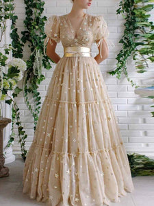 A Line V Neck Tulle Prom Dress Long Custom Evening Dress With Sleeve DM142