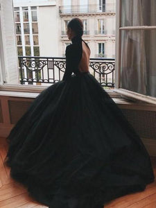 High Neck Black Prom Dress Ball Gown Evening Dress with Long Sleeves DM150