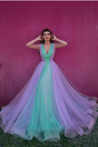 Chic V Neck Tulle Prom Dress Cheap Sleeveless Evening Dress