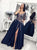 Navy Blue Embroidery A-Line Split Prom Dresses Long Half Sleeves Evening Dress DM201