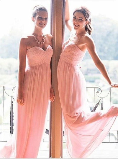 A-line Bridesmaid Dresses Sweetheart Chiffon Long Bridesmaid Dresses kmy515