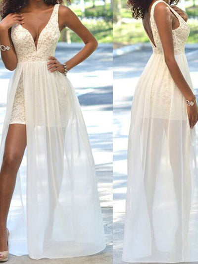 cheap prom dresses, Sheath/Column Straps Floor-length Chiffon Prom Dress/Evening Dress #MK031