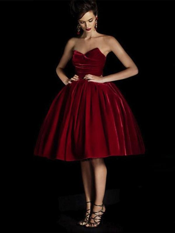 214d8f6f891 red prom dresses A-line Sweetheart Knee-length Tulle Homecoming Dress Short  Prom