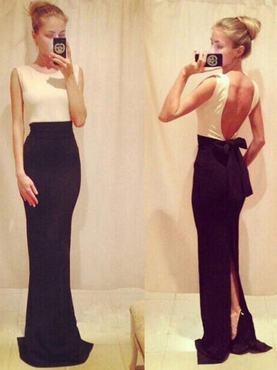 simple prom dresses, Sheath/Column Scoop Floor-length Chiffon Prom Dress/Evening Dress #MK039