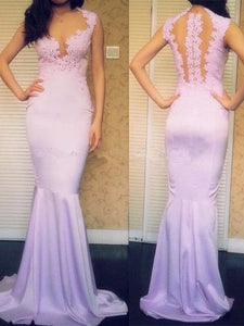 prom dresses with straps, Trumpet/Mermaid Scoop Floor-length Chiffon Prom Dress/Evening Dress #MK040