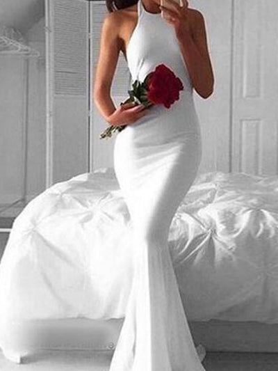 Mermaid prom dress, White Simple Backless Long Prom Dress Evening Dress MK0508