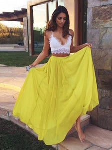 2 pieces prom dress, Lace Chiffon V-neck Long Prom Dress Evening Dress MK0512 - DemiDress.com