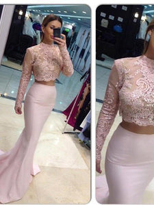 Two Piece prom dresses Mermaid Pink Lace Long Prom Dress MK053 - DemiDress.com
