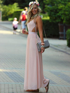 pretty prom dresses, A-line Spaghetti Straps Floor-length Chiffon Prom Dress/Evening Dress #MK056 - DemiDress.com