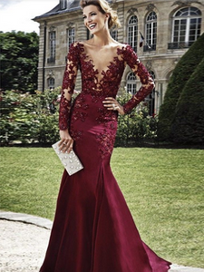 Burgundy prom dresses mermaid Lace Long Prom Dress MK083