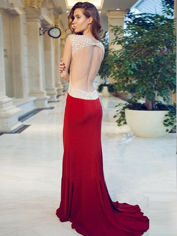 sequin prom dresses, Sheath/Column Sweetheart Floor-length Chiffon Prom Dress/Evening Dress #MK086