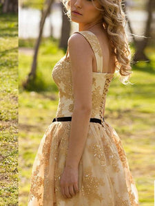 golden prom dresses, A-line Straps Knee-length Tulle  Homecoming Dress Short Prom dress MK108