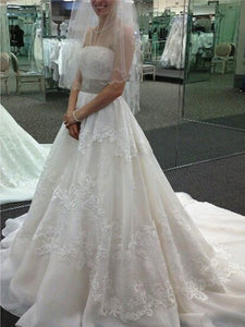 Ivory wedding dresses, A-line Strapless Sweep Brush Train Tulle Wedding Dresses MK215