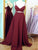 Prom dress long, A-line Straps Burgundy Sexy Prom Dress Evening Dress MK504
