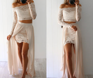 Two Piece Prom Dress,  Sheath Long Sleeves Beige Long Outfit Dress Evening Dress MK517 - DemiDress.com